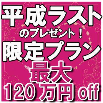 最大120万円OFF!【20大特典付】平成ラストプレゼントプラン